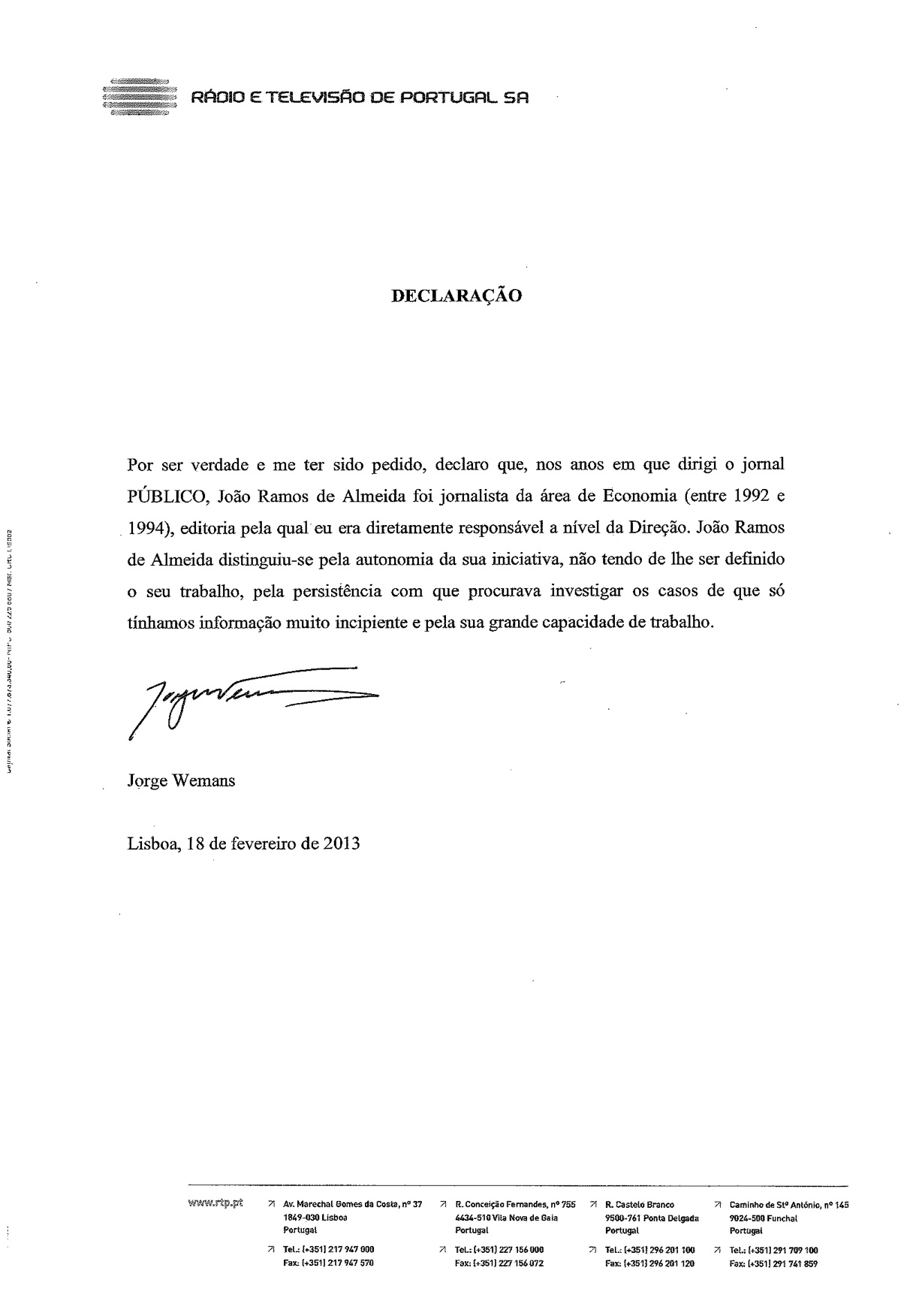 Carta de Jorge Wemans RTP
